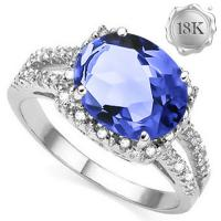 VS CLARITY ! 2.00 CT TANZANITE & DIAMOND 18KT SOLID GOLD RING