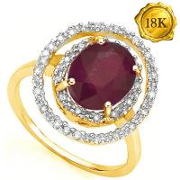 2.28 CT GENUINE RUBY & 1/5 CT DIAMOND 18KT SOLID GOLD RING