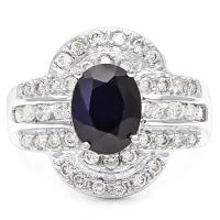 2.15 CT DIFFUSION GENUINE SAPPHIRE & 4/5 CT DIAMOND (VS CLARITY) 14KT SOLID GOLD RING