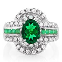 3.00 CT EMERALD & 1/2 CT DIAMOND (VS CLARITY) 14KT SOLID GOLD RING