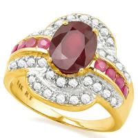 SPARKLING ! 3.04 CARAT (9 PCS) RUBY &1/5 CARAT (34 PCS) DIAMOND 14KT SOLID GOLD RING