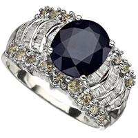 SUPERB ! 2.86 CARAT DIFFUSION GENUINE SAPPHIRE & 1.24 CARAT (74 PCS) DIAMOND 14KT SOLID GOLD RING