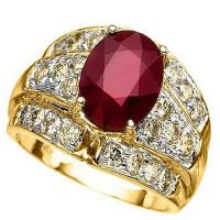 DAZZLING !  3 1/2 CARAT AFRICAN RUBY &  1 CARAT (24 PCS) DIAMONDS 14KT SOLID GOLD RING