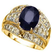 3.00 CT DIFFUSION GENUINE SAPPHIRE & 4/5 CT CHOCOLATE DIAMOND  14KT SOLID GOLD RING