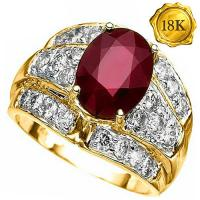 4.20 CT AFRICAN RUBY & 4/5 CT DIAMOND (VS) 18KT SOLID GOLD RING