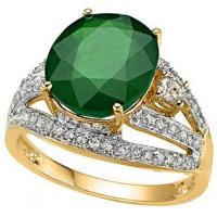 FOXY ! 4 CARAT EMERALD &  2/5 CARAT (54 PCS) DIAMOND 14KT SOLID GOLD RING
