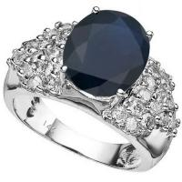 6.89 CT BLACK SAPPHIRE & 1.07 CT DIAMOND (VS CLARITY) 14KT SOLID GOLD RING