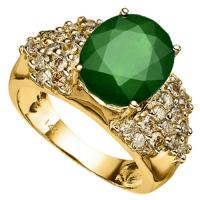 BRILLIANT !  4.62 CARAT EMERALD & 1.23 CARAT (30 PCS) DIAMOND 14KT SOLID GOLD RING