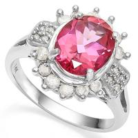 3.20 CT IMPERIAL PINK TOPAZ & 1/2 CT DIAMOND (VS CLARITY) 14KT SOLID GOLD RING