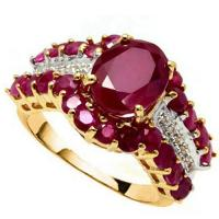 5.00 CT RUBY & DIAMOND 10KT SOLID GOLD RING