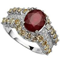 BEAUTEOUS ! 4.72 CARAT AFRICAN RUBY & 1.87 CARAT (36 PCS) DIAMOND 14KT SOLID GOLD RING