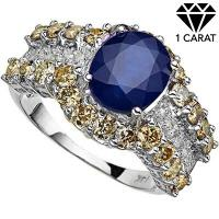 GORGEOUS ! 2.83 CARAT DIFFUSION GENUINE SAPPHIRE & 2 CARAT (36 PCS) DIAMOND 14KT SOLID GOLD RING