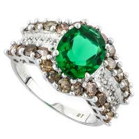 EXQUISTE ! 2.10 CARAT RUSSIAN EMERALD & 1.80 CARAT (36 PCS) DIAMOND 14KT SOLID GOLD RING