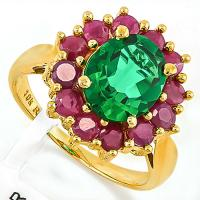 FOXY ! 2 CARAT RUSSIAN EMERALD & 1.67 CARAT (12 PCS) RUBY 10KT SOLID GOLD RING