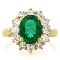 GORGEOUS ! 2.24 CARAT RUSSIAN EMERALD &  2/5 CARAT (12 PCS) WHITE SAPPHIRE 14KT SOLID GOLD RING