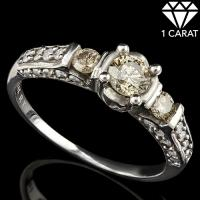 PERFECT ! 1 CARAT (31 PCS) DIAMOND SOLITAIRE 14KT SOLID GOLD ENGAGEMENT RING