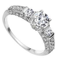 VS QUALITY ! 3/4 CT DIAMOND MOISSANITE & 1/4 CT DIAMOND SOLITAIRE 14KT SOLID GOLD ENGAGEMENT RING