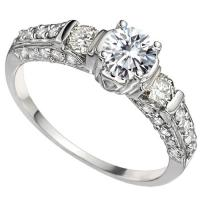 VS QUALITY ! 1/2 CT DIAMOND MOISSANITE & 2/3 CT DIAMOND SOLITAIRE 14KT SOLID GOLD ENGAGEMENT RING