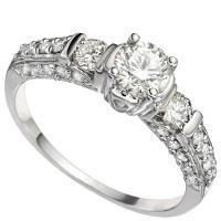 MESMERIZING !  4/5 CARAT (31 PCS) DIAMOND 14KT SOLID GOLD ENGAGEMENT RING