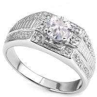RING SIZE 9 ! 4/5 CT DIAMOND MOISSANITE & DIAMOND (VS CLARITY) 10KT SOLID GOLD MENS ENGAGEMENT RING
