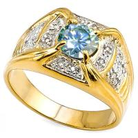 RING SIZE 9 ! 4/5 CT BLUE DIAMOND MOISSANITE (VS) & DIAMOND SOLITAIRE 10KT SOLID GOLD MENS RING