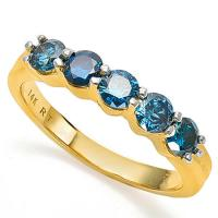 1.00 CT GENUINE BLUE DIAMOND 14KT SOLID GOLD WEDDING RING