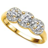 VVS CLARITY ! 2/3 CT DIAMOND MOISSANITE & DIAMOND 10KT SOLID GOLD RING