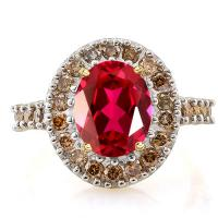 2.80 CT RUSSIAN RUBY & 26PCS GENUINE CHOCOLATE DIAMOND 14KT SOLID GOLD RING