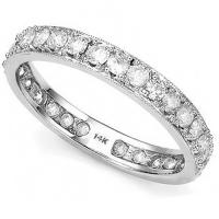 SPLENDID ! 1 CARAT (30 PCS) GENUINE DIAMOND 14KT SOLID GOLD ETERNITY RING
