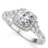 VS CLARITY ! 1.00 CT DIAMOND MOISSANITE & 1/3 CT DIAMOND SOLITAIRE 14KT SOLID GOLD ENGAGEMENT RING