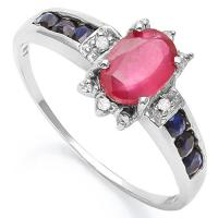ALLURING ! 1 CARAT AFRICAN RUBY & 1/3 CARAT SAPPHIRE 14KT SOLID GOLD RING