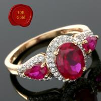 SPLENDID !  2.75 CARAT CREATED RUBY & 1/4 CARAT (40 PCS) WHITE SAPPHIRE 10KT SOLID GOLD RING