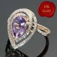 3.00 CT AMETHYST & 2/5 CT DIAMOND 10KT SOLID GOLD RING