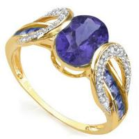 FOXY !  1.62 CARAT (11 PCS) TANZANITE & (26 PCS) DIAMOND 10KT SOLID GOLD RING