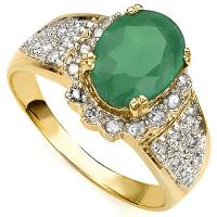 SMASHING ! 1 CARAT EMERALD & 1/4 CARAT (30 PCS) DIAMOND 10KT SOLID GOLD RING
