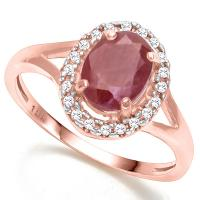 1.69 CT RUBY & DIAMOND 10KT SOLID GOLD RING
