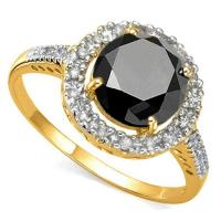 VS CLARITY ! 1.81 CT BLACK DIAMOND MOISSANITE & 1/4 CT DIAMOND SOLITAIRE 14KT SOLID GOLD ENGAGEMENT RING