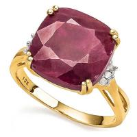 7.32 CT RUBY & DIAMOND 10KT SOLID GOLD RING