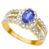 2/5 CT TANZANITE & 1/3 CT DIAMOND (VS CLARITY) 14KT SOLID GOLD RING