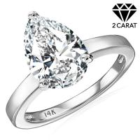 (CERTIFICATE REPORT) 2.00 CT DIAMOND MOISSANITE (VVS) SOLITAIRE 14KT SOLID GOLD ENGAGEMENT RING
