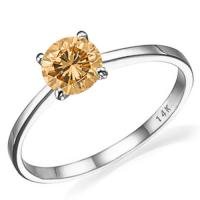 ALLURING ! 3MM CHOCOLATE DIAMOND SOLITAIRE 14KT SOLID GOLD ENGAGEMENT RING