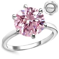 PLATINUM RING ! 4.00 CT ROSE PINK DIAMOND MOISSANITE (VVS CLARITY) SOLITAIRE PT900 ENGAGEMENT RING