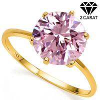 1.74 CT PINK DIAMOND MOISSANITE (VVS) SOLITAIRE 14KT SOLID GOLD ENGAGEMENT RING