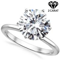 (CERTIFICATE REPORT) 2.00 CT DIAMOND MOISSANITE (D COLOR/VVS) SOLITAIRE PT900 WEDDING RING