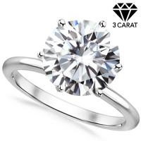 (CERTIFICATE REPORT) 3.00 CT GENUINE DIAMOND MOISSANITE (E COLOR/VVS) SOLITAIRE PT900 ENGAGEMENT RING