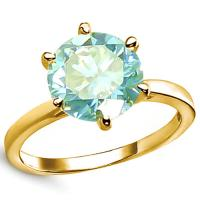 1.00 CT FANCY BLUE DIAMOND MOISSANITE (VS CLARITY) SOLITAIRE 14KT SOLID GOLD ENGAGEMENT RING