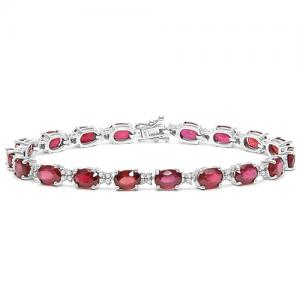 16.63 CT AFRICAN RUBY & 3/4 CT DIAMOND (VS CLARITY) 10KT SOLID GOLD BRACELET