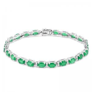 9.18 CT EMERALD &1/4 DIAMOND (VS CLARITY) 10KT SOLID GOLD BRACELET