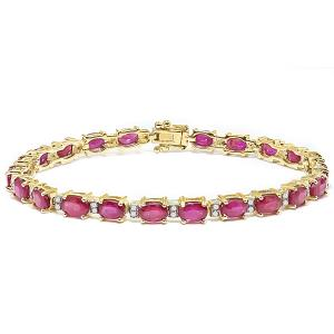 9.35 CT AFRICAN GENUINE RUBY & 1/4 CT DIAMOND (VS CLARITY) 10KT SOLID GOLD BRACELET