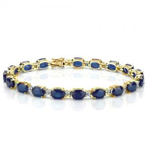 17.50 CT DIFFUSION GENUINE SAPPHIRE & 4/5 CT DIAMOND (VS CLARITY) 10KT SOLID GOLD BRACELET